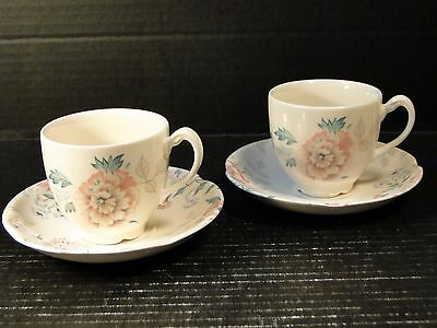 Johnson Brothers Lynton Pink Carnation Tea Cup and Saucer Sets 2 Excellent