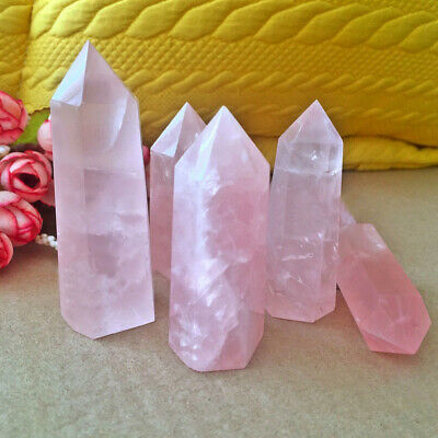 Natural Rock Rose Quartz Crystal Point Healing Stone Obelisk Wand Pink 50-60MM
