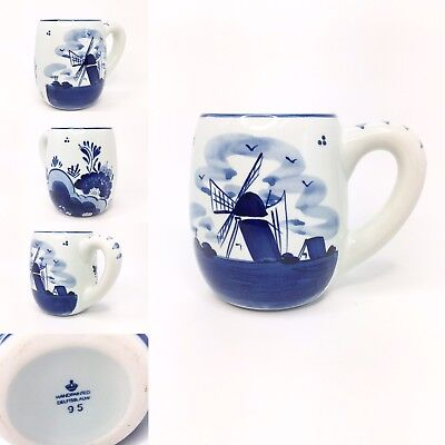 Delft Pottery Mug Blue White Windmill Holland Dutch Hand Painted Chunky New