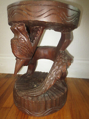 Vintage Hand carved wood stool with a dragon