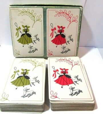 Antique Vintage Double Pair Of Playing Cards Little Bo Peep Hamilton Linen