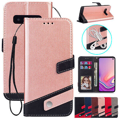 Leather Case For Samsung S10 Plus S9 Flip Strap Card Slot Wallet Magnetic Cover