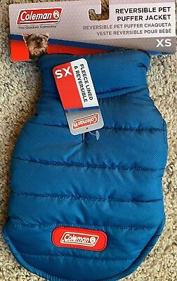 Extra Small Dog Coleman Reversible PUFFER Jacket Coat NEW Winter Pet In Blue