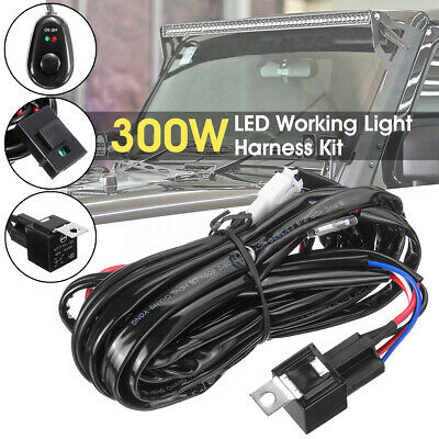 LED HID Wiring Loom Harness Spot Work Fog Driving Light Bar Relay Switch 12v 40A