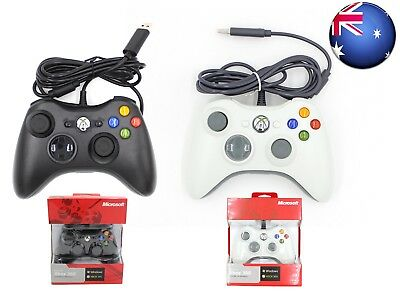 New Sealed White/Black Wired Controller for Xbox 360 Console USB Windows/PC AU