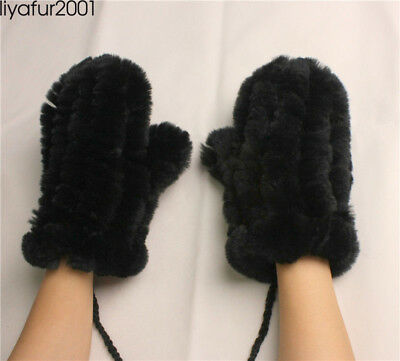Women's Real Rex Rabbit Fur Winter Warm Knitted Gloves Mittens w/hanging string
