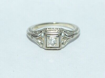 Antique Art Deco 18K White Gold 0.10 Diamond Filigree Engagement Ring  Sz 5 3/5