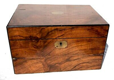 Antique Walnut Vanity Style Writing Box / Slope