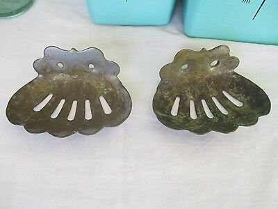 2 MATCHING Antique NICKEL Plated BRASS Wall Mount CLAM SHELL Soap DISH Holders