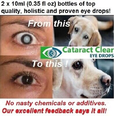 Cataract eye drops. 2% & 4.2% strength N.A.C. Proven on people & pets! 2 x15ml