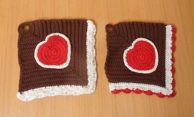 Set Of 2 Hand Made Crocheted Cotton Kitchen Pot Holders