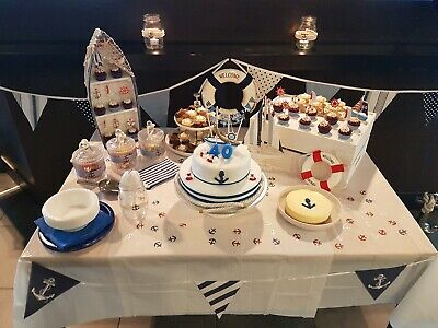 Nautical Themed Display Set - boat shelf, 2 lifebuoys, wooden crate and bunting