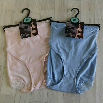 M&S Autograph Size 26 Knickers Pants High Leg With Cashmere Soft 2 pairs BNWT