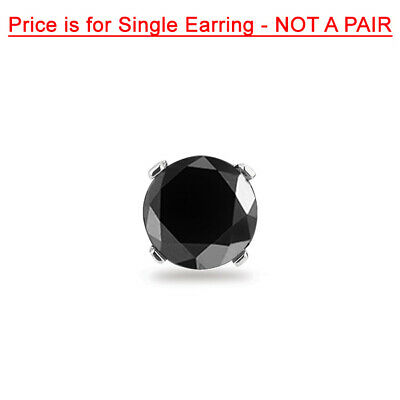 1.50 Cts 6.30 mm AA Round Black Diamond Mens Stud Earrings in 14K White Gold