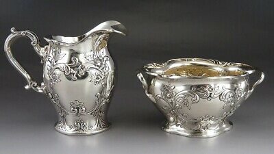 Antique 1905 Sterling Silver Gorham Chester Sugar Bowl & Creamer