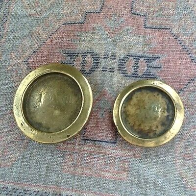 Vintage Imperial Brass 1 lb and 8 oz Weights with Standards Stampings on Reverse