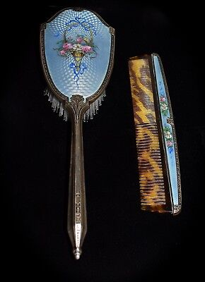 Magnificent Antique  SAART BROS  *STERLING ENAMEL GUILLOCHE*  BRUSH & COMB SET