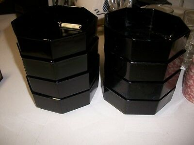 8 Arcoroc Luminarc France Black Octime Soup Salad Cereal Bowls Octagonal 8 Sided