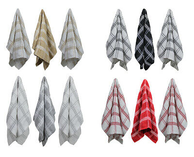 100% Cotton Tea Towels Country Check Pack of 3 Kitchen Dish Cloths Clean Drying
