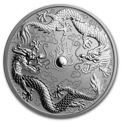 2019 Australia Double Dragon 1 oz .9999 Silver BU Very Limited Capsuled Coin