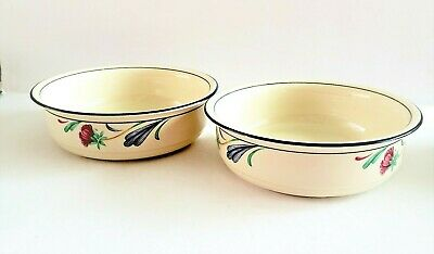 """Lenox Chinastone Set Of (2) Poppies On Blue 6 1/4"""" Soup/cereal Bowls - Excellent"""