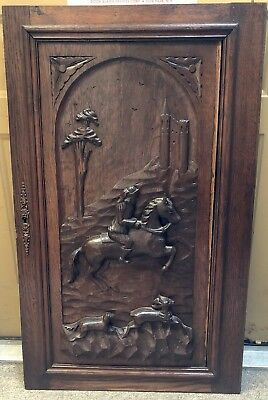 Antique Victorian Hand Carved Wood Cabinet Panel Horse Figural Plaque Country