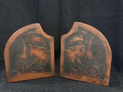 Antique American Copper Bookends Arts Crafts Ships Circa Early 1900 Pair