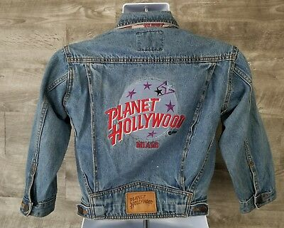 Vintage Planet Hollywood Miami Denim Jeans Jacket Youth Size 8