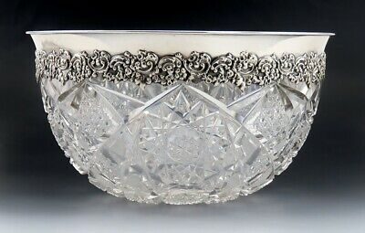 Antique ABP American Brilliant Period Cut Glass Sterling Silver Large Bowl