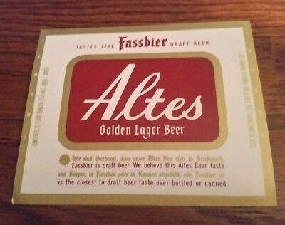 Altes Golden Lager beer label Frankenmuth Michigan