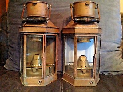 Pair 1913 Oil lamps by Eli Griffiths  - Carrying/bulkhead mounted. Just reduced!