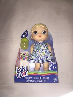 Baby Alive Lil' Sips Baby Blonde Sculpted Hair NIP
