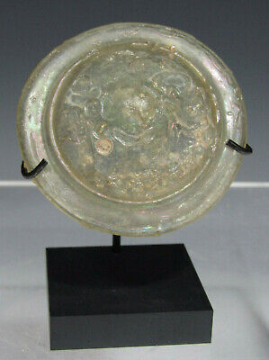 Ancient Antique Roman Glass Roundel once a Lid for a Vessel ca. 200 AD