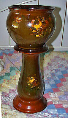 Antique Weller Louwelsa Large Jardiniere And Matching Pedestal