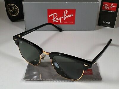 07a76478c Ray-Ban Clubmaster Sunglasses RB3016 W0365 Black Frame G-15 Green Lens 51