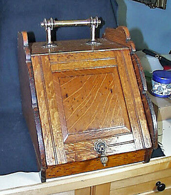 Antique c1890 - 1920 Solid Tiger Oak And Brass Metal Coal Scuttle Ash Box