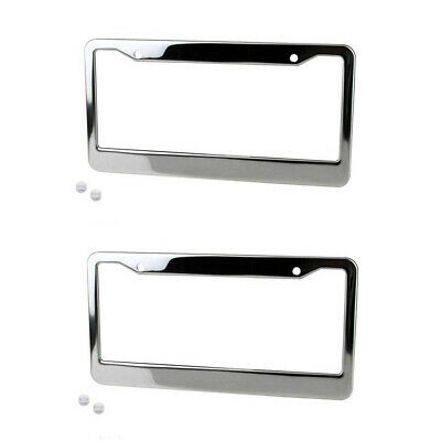 2pcs Aluminum Alloy Car License Plate Frame Tag Cover Holder With Screw Caps GK