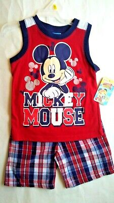 43a42a7c Mickey Mouse Toddler Boys Graphic Tank Top & Shorts Outfit Set 2 pc NWT  size 4T