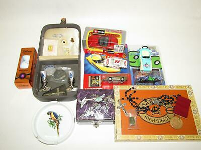 Junk Drawer Lot Collectibles Lapel Pins, Boxes, Model Cars