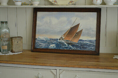Very Old Painting ART DECO Sea Seascape Racing Yacht Sailing Boats Framed Signed