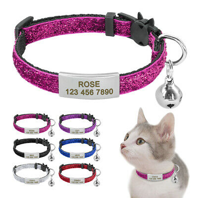 Breakaway Cat Collar Sequins Quick Release Personalised ID Tags Slide On for Pet