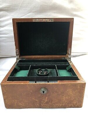 Antique Rare Leather Jewellery Box With A Key