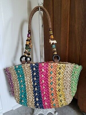 5afb2d3649 NWOT Cappelli Straworld Multi Colored Beaded Straw Tiger Handbag Purse Tote