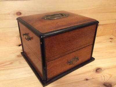 Antique Late 19th Century Collectors Cabinet Desk Top Box Stamp Coin Collector