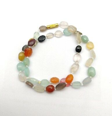 Natural Oval Faceted Multi Color Stone Bead Ready To Wear Necklace 17 Inch 109ct