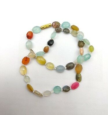 Natural Oval Faceted Multi Color Stone Bead Necklace 17 Inch 113 CT
