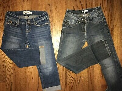 Girls' Jeans 3 Pairs Abercrombie DKNY Old Navy Skinny Denim Blue Floral Size 14
