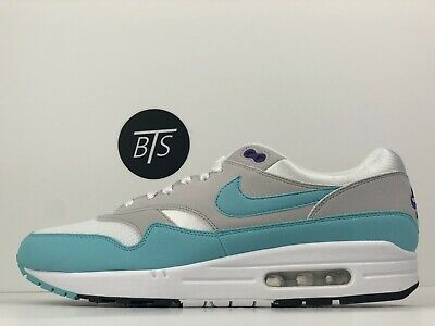 NIKE AIR MAX 1 Anniversary White Aqua Grey Black Green Blue