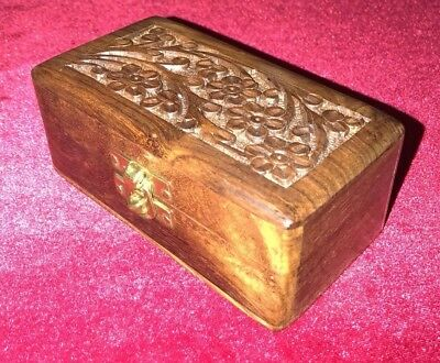 Hand Carved Wood India Made Trinket Box