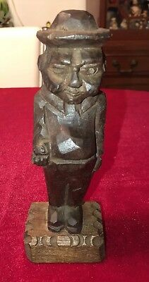 """Handcarved Solid Wood Man W/ Hat 7.5"""" Tall."""